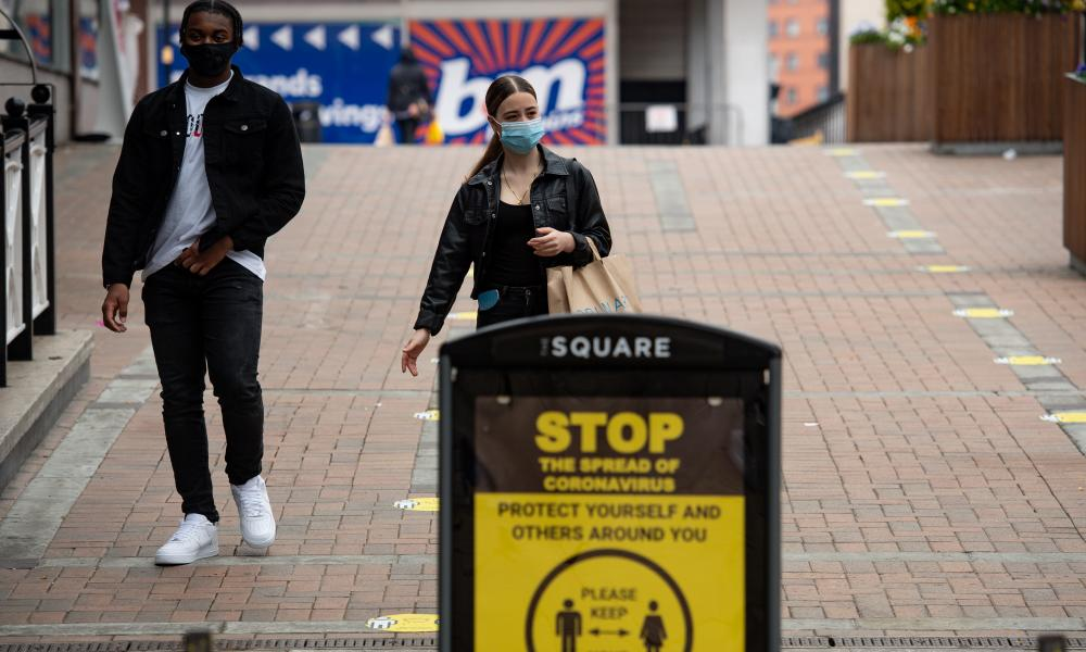 People wearing masks in Birmingham.