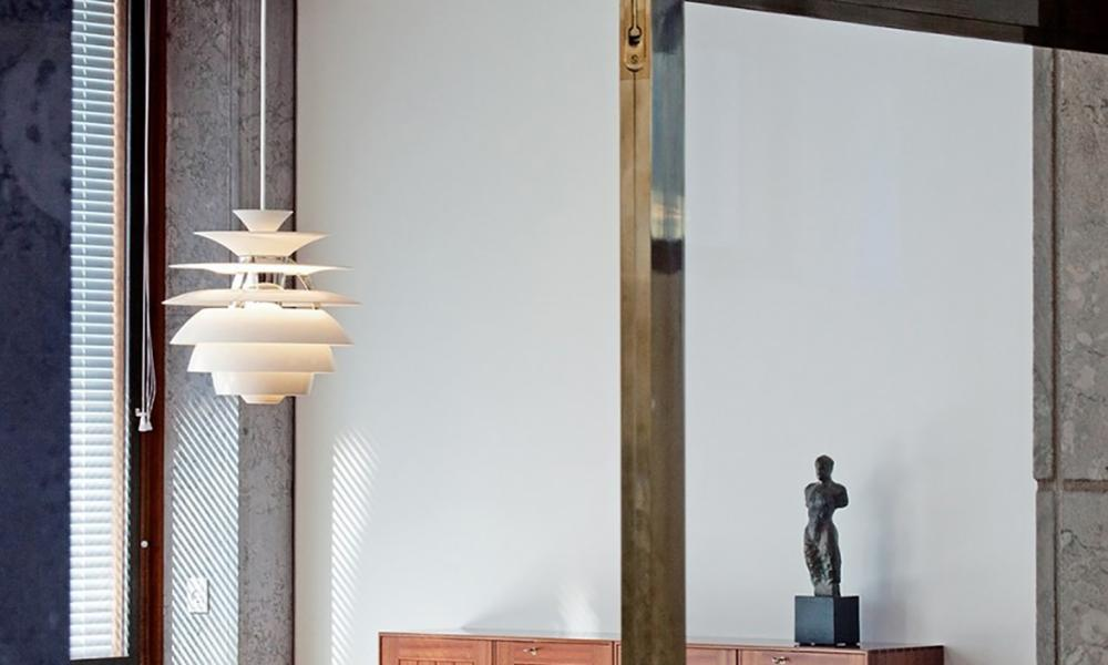 In the swing: a pendant such as this Snowball light from the Conran Shop can become the focus of your room