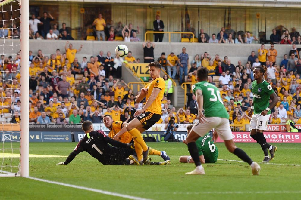 Mat Ryan makes one of his series of saves.