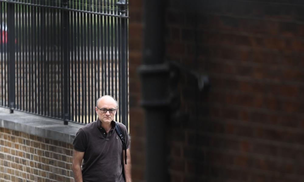 Dominic Cummings, Boris Johhnson's chief adviser, arriving for work at No 10 this morning.