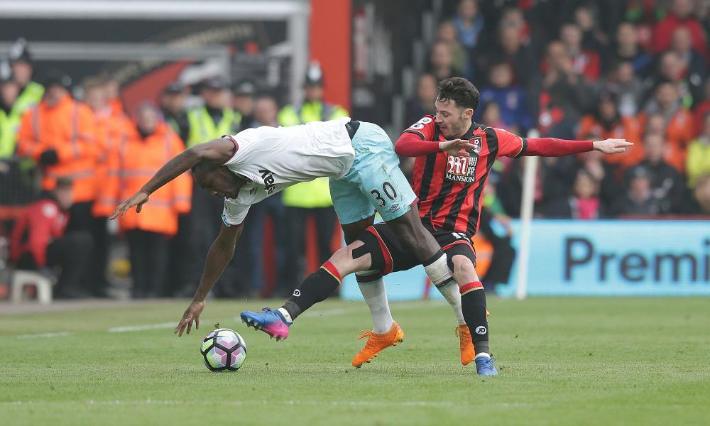 Michail Antonio, West Ham's all-action man, in a spot of bother against Bournemouth.