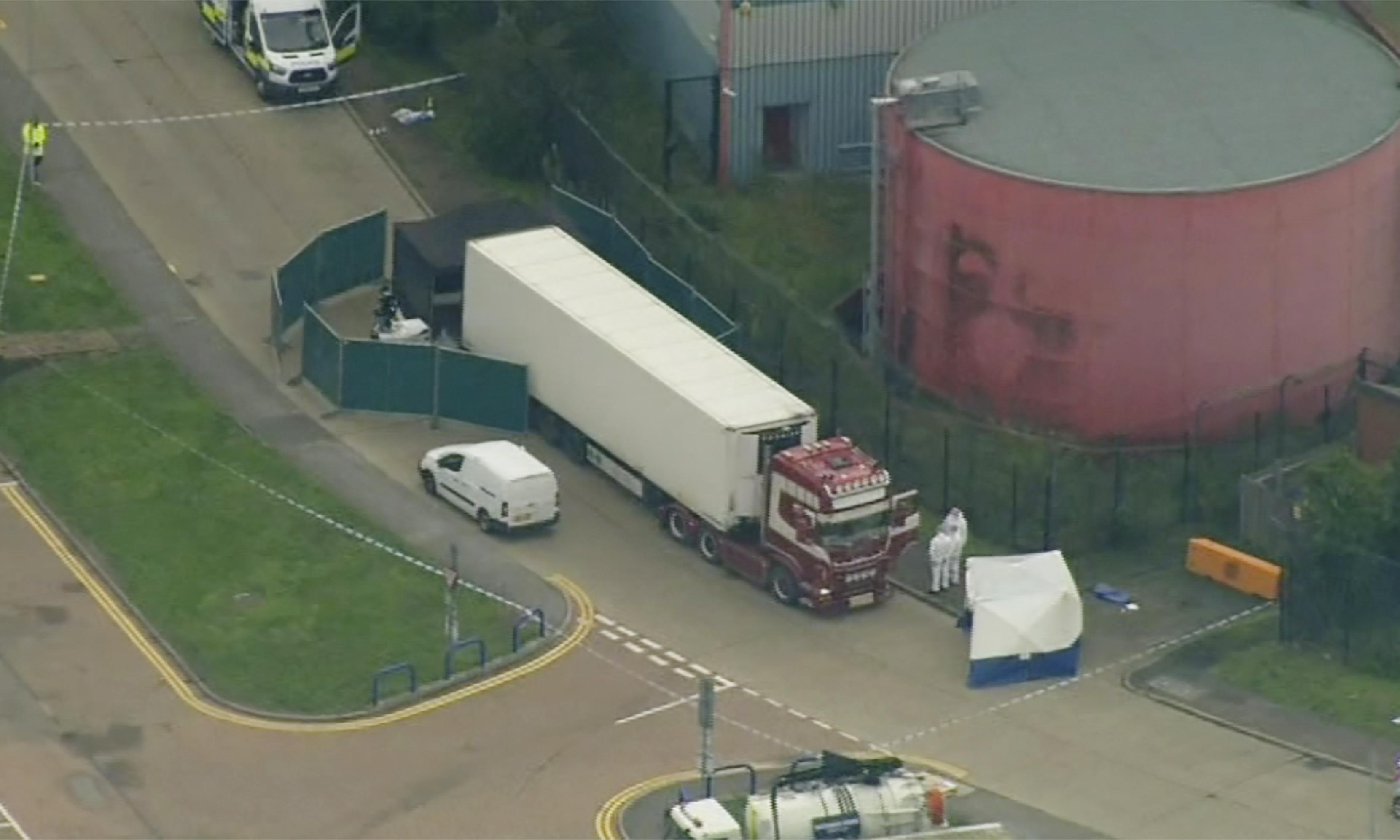 Driver arrested after 39 bodies found in lorry container in Essex