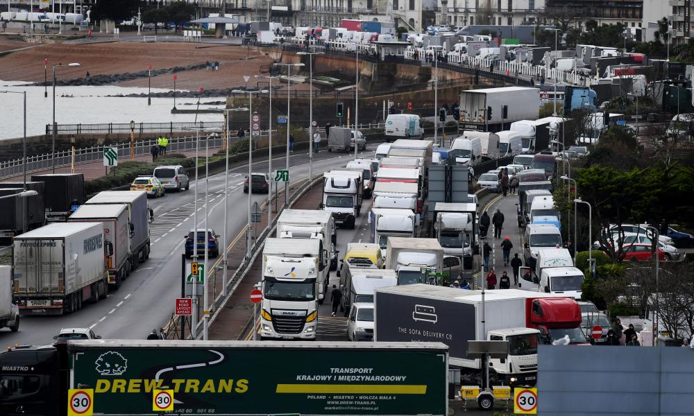 Freight lorries cannot cross by sea or through the Eurotunnel and the Port of Dover has closed to outbound traffic