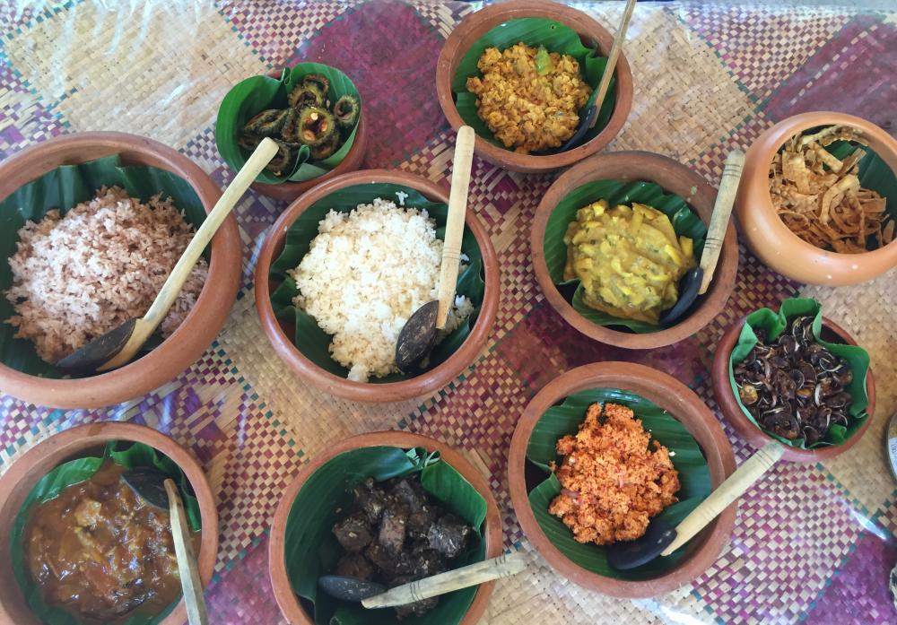 The impressive spread prepared by Deevika, after shopping at Habaraduwa market.