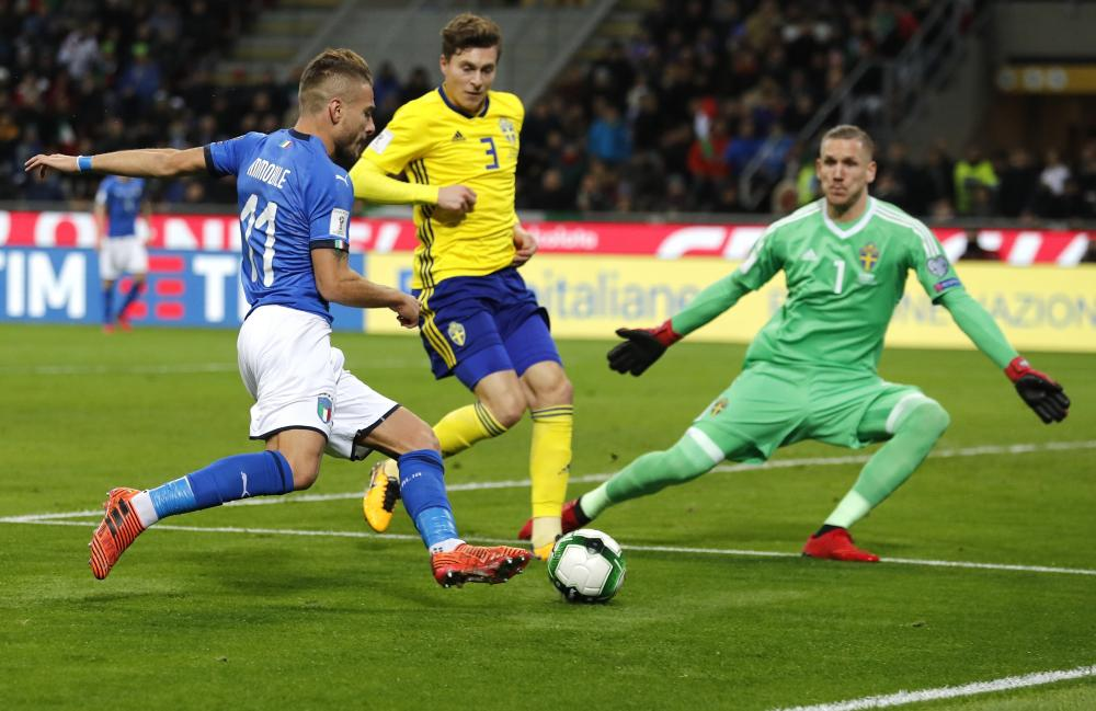Ciro Immobile takes a shot from too tight an angle.