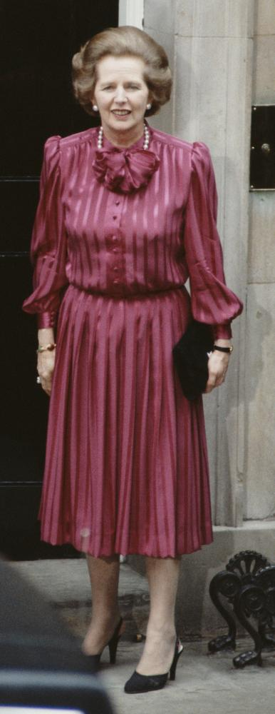 Margaret Thatcher on the steps of Number 10, 1984.