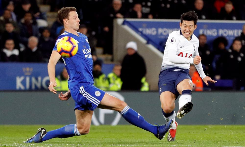 Son Heung-min curls in a brilliant shot to give Spurs the lead.