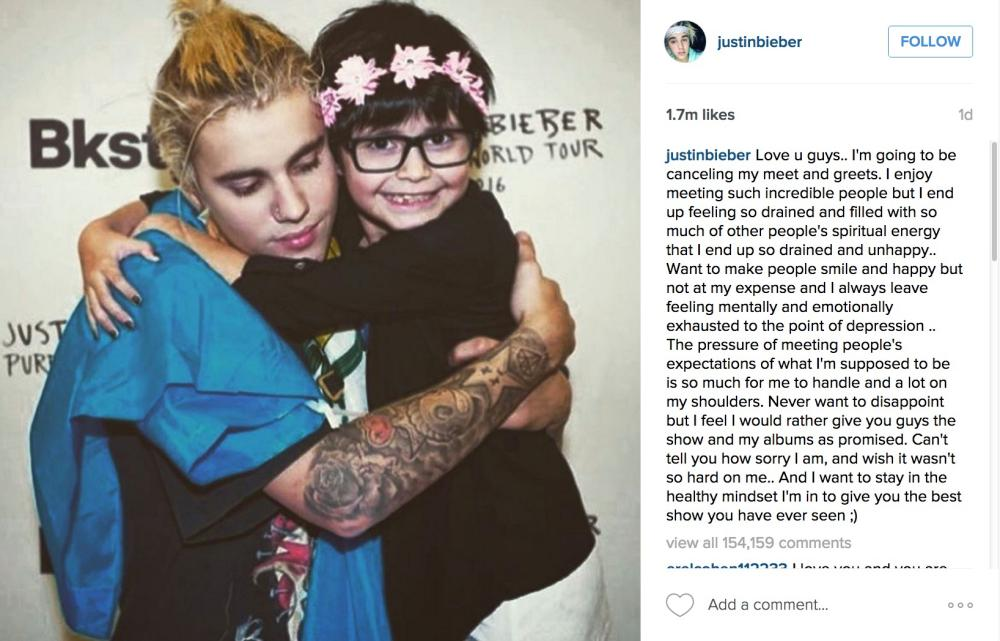 Justin bieber says no more meet and greets with fans sorry wrongmog justin bieber on instagram m4hsunfo