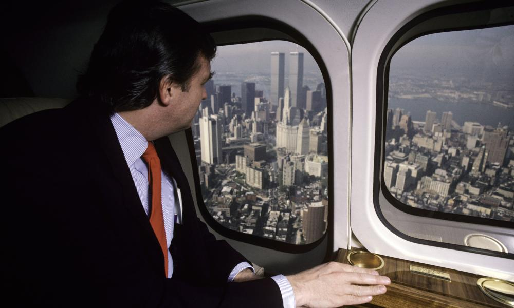 Donald Trump, real estate mogul, entrepreneur, and billionaire, utilizes his personal helicopter to get around on August 1987 in New York City.