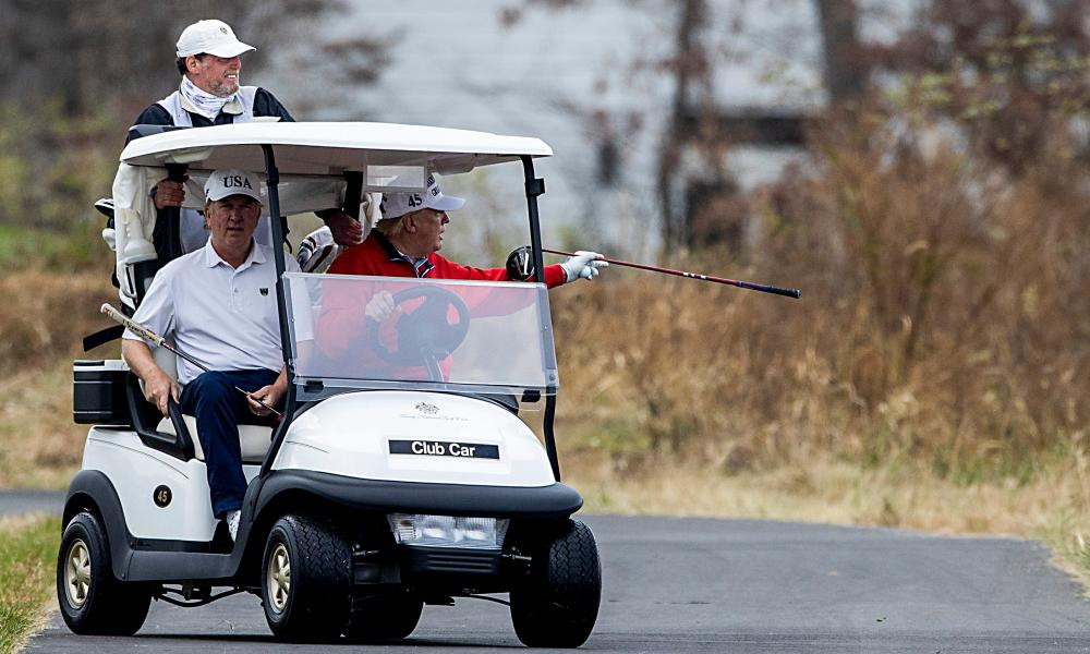 Donald Trump at Trump National Golf Club in Sterling,Virginia, on 21 November, as the virtual G-20 summit was taking place.