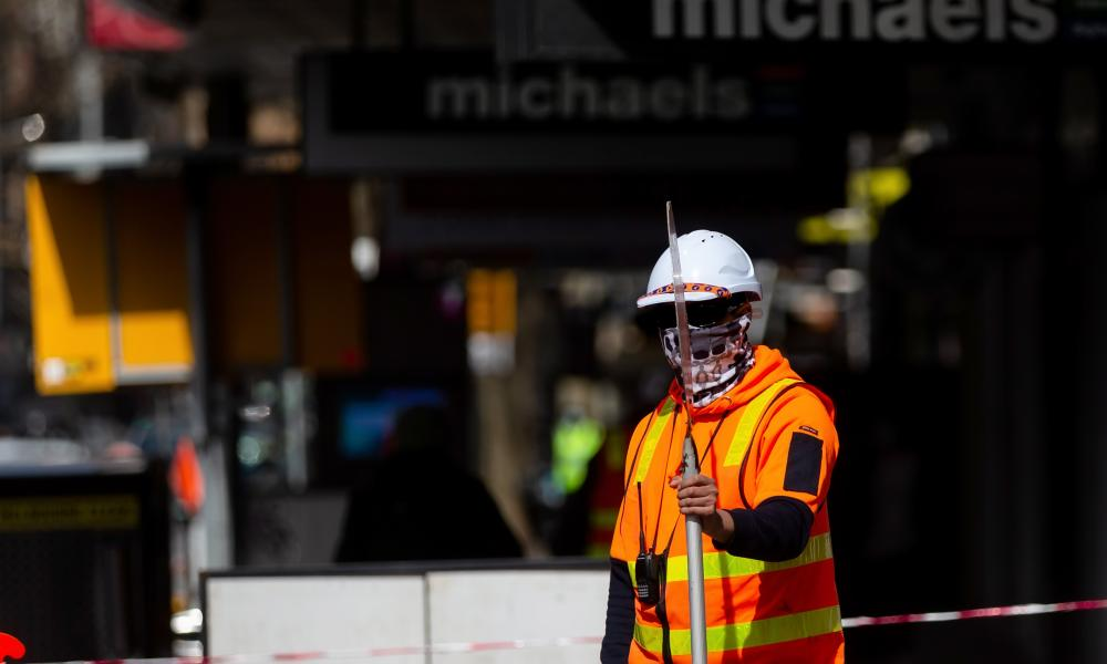 A construction worker in Melbourne, Australia.