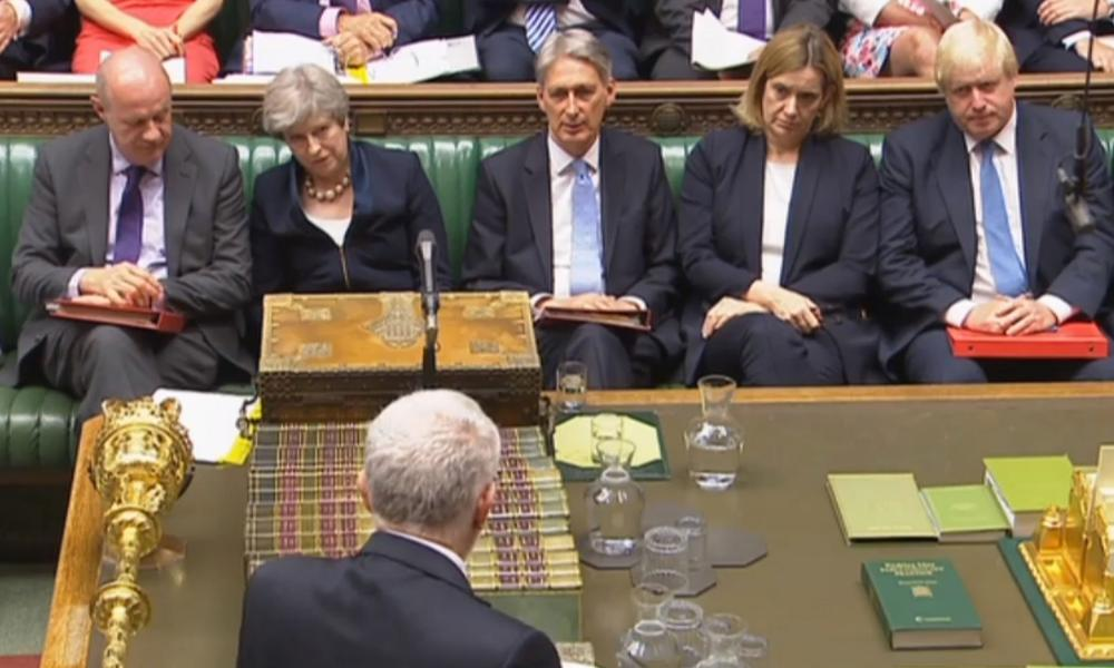 (Left to right) Damian Green, Theresa May, Philip Hammond, Amber Rudd and Boris Johnson listen to Jeremy Corbyn during PMQs.