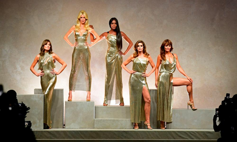 Carla Bruni, Claudia Schiffer, Naomi Campbell, Cindy Crawford and Helena Christensen at the Gianni Versace tribute show in Milan.