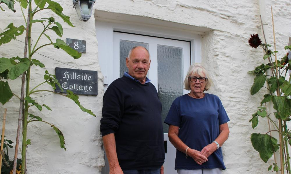 Phil Salter and wife, Judith, outside their home in St Mawes.