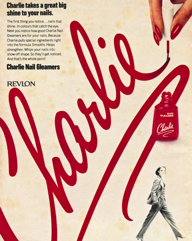 A 1978 advert for Revlon's Charlie nail polish.