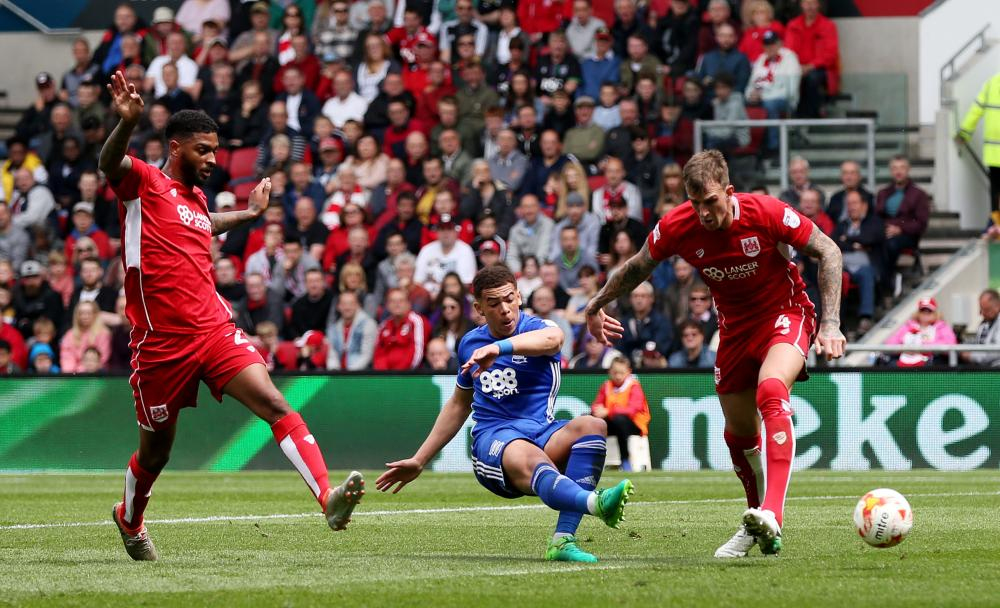 Che Adams finds the net for Birmingham City.