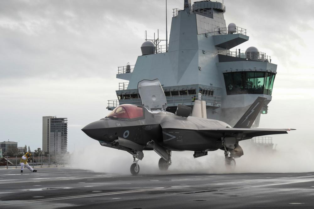 Meggit makes parts for civilian and defence aircraft, including the RAF F-35 Lightning jet, seen here preparing to take off from the HMS Queen Elizabeth.