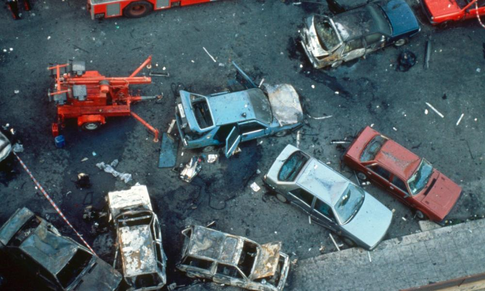 The aftermath of the car bomb which killed anti-mafia judge Paulo Borsellino in Palermo in 1992.