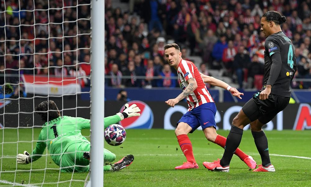 Saúl's early strike gives Atlético Madrid first-leg edge over disjointed Liverpool