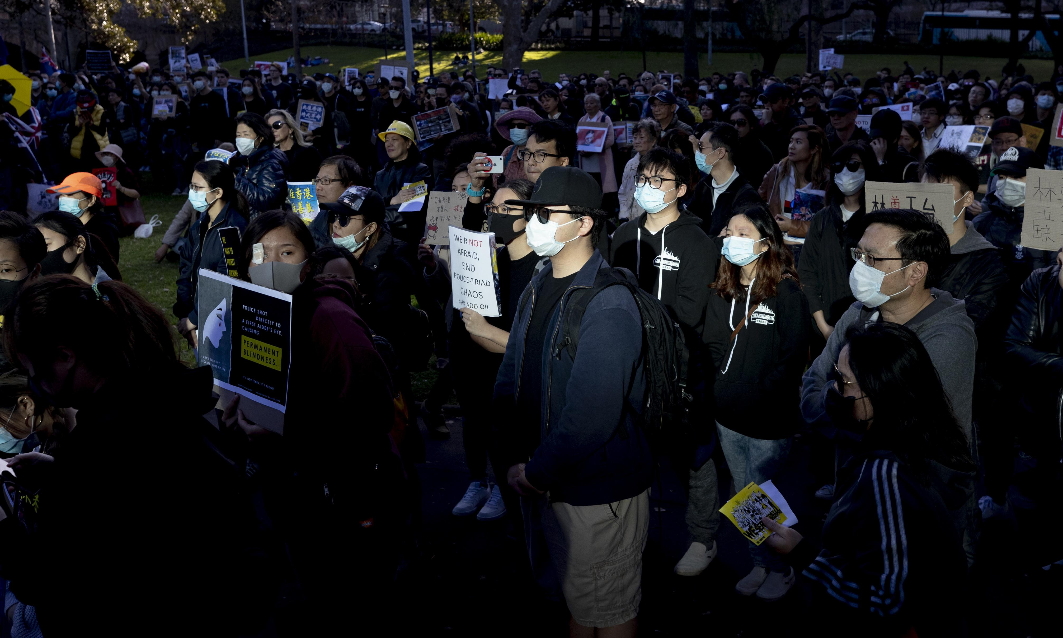 Hundreds rally in Sydney in support of Hong Kong pro-democracy protesters
