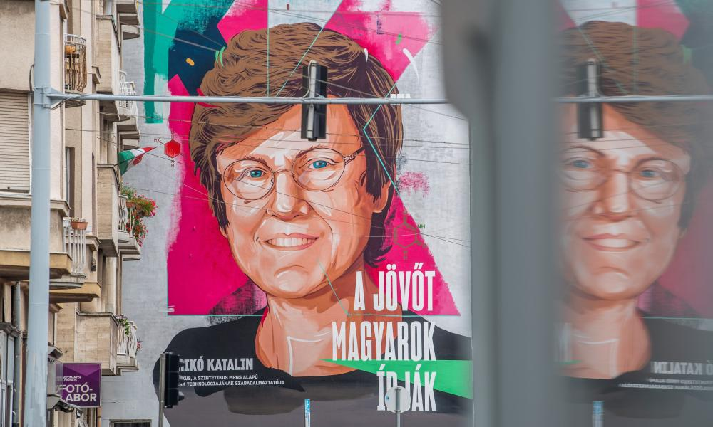 A mural depicting the Hungarian biochemist Katalin Karikó on the wall of an apartment in Budapest