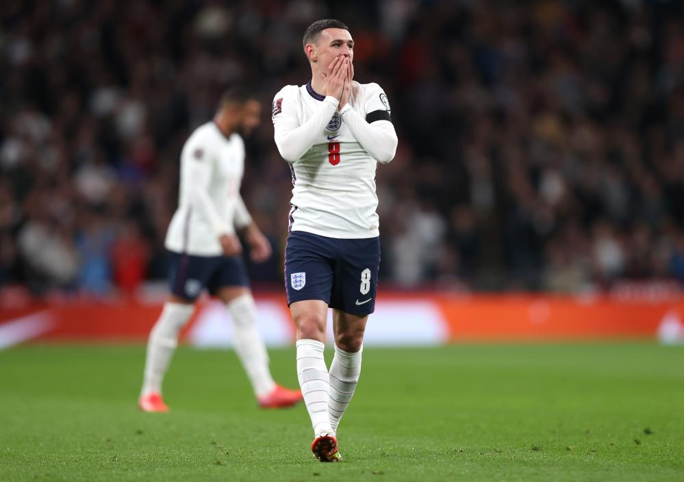 Phil Foden reacts after a missed chance.