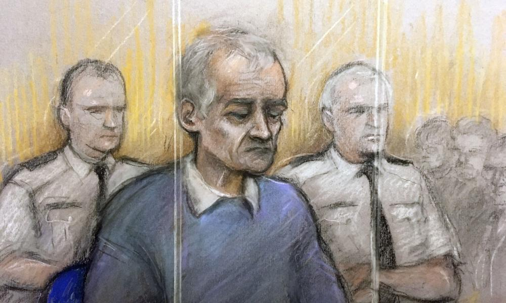 Court artist of Bennell appearing at Liverpool crown court.