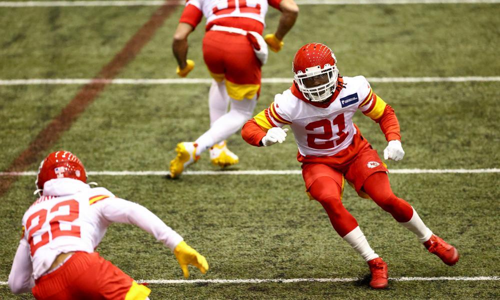 Kansas City Chiefs cornerback Bashaud Breeland (21) during practice ahead of the Super Bowl.