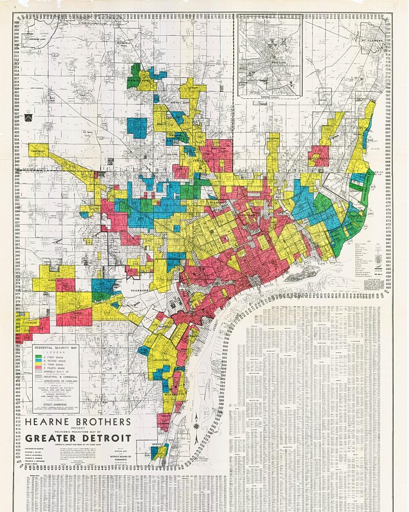The FHA Housing Map for Detroit circa 1939.