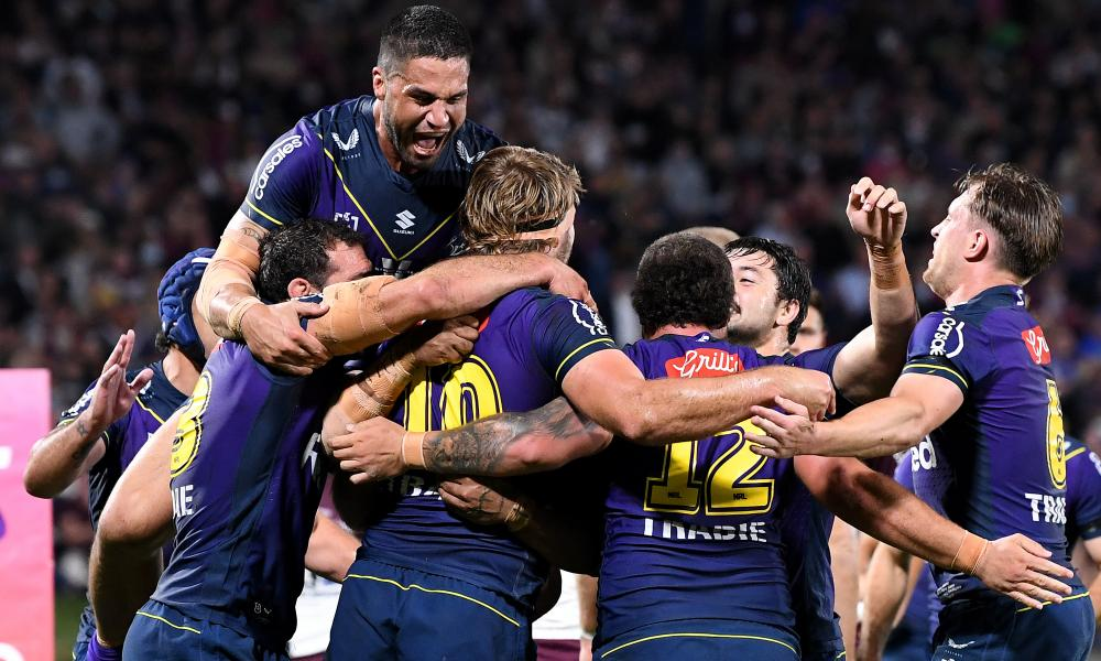 Christian Welch of the Storm celebrates after scoring a try during the NRL qualifying final against Manly at Sunshine Coast Stadium.