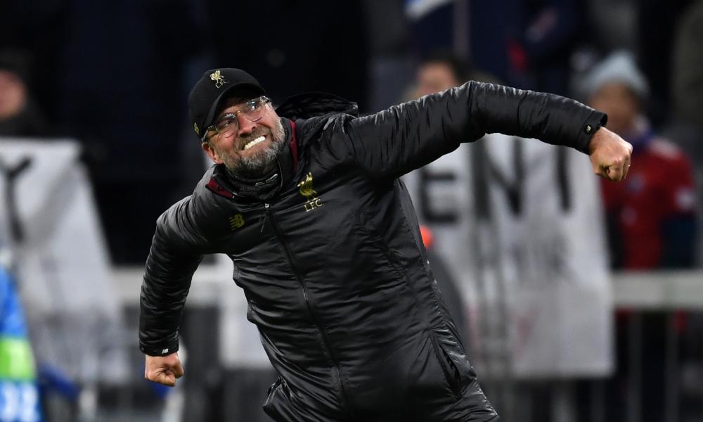 Jürgen Klopp celebrates Liverpool's 3-1 second-leg victory.
