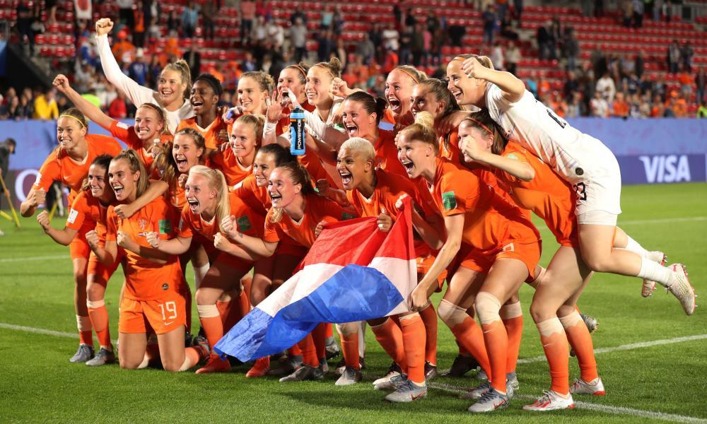 Netherlands players celebrate after the match.