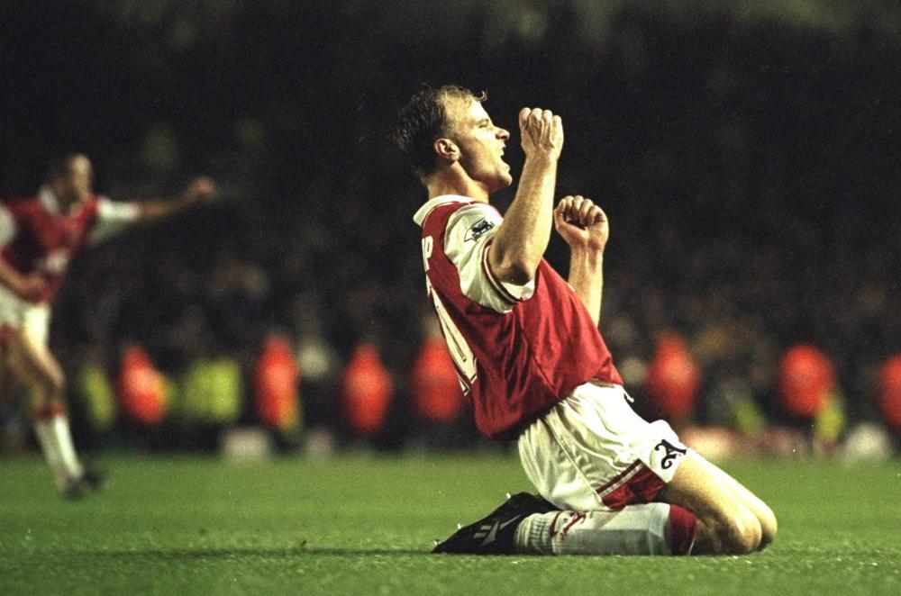 Dennis Bergkamp celebrates after scoring against Tottenham Hotspur at Highbury in1996.