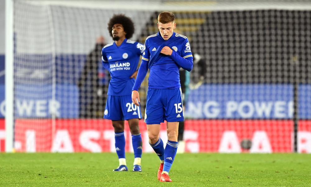 Harvey Barnes and Hamza Choudhury of Leicester City look dejected.