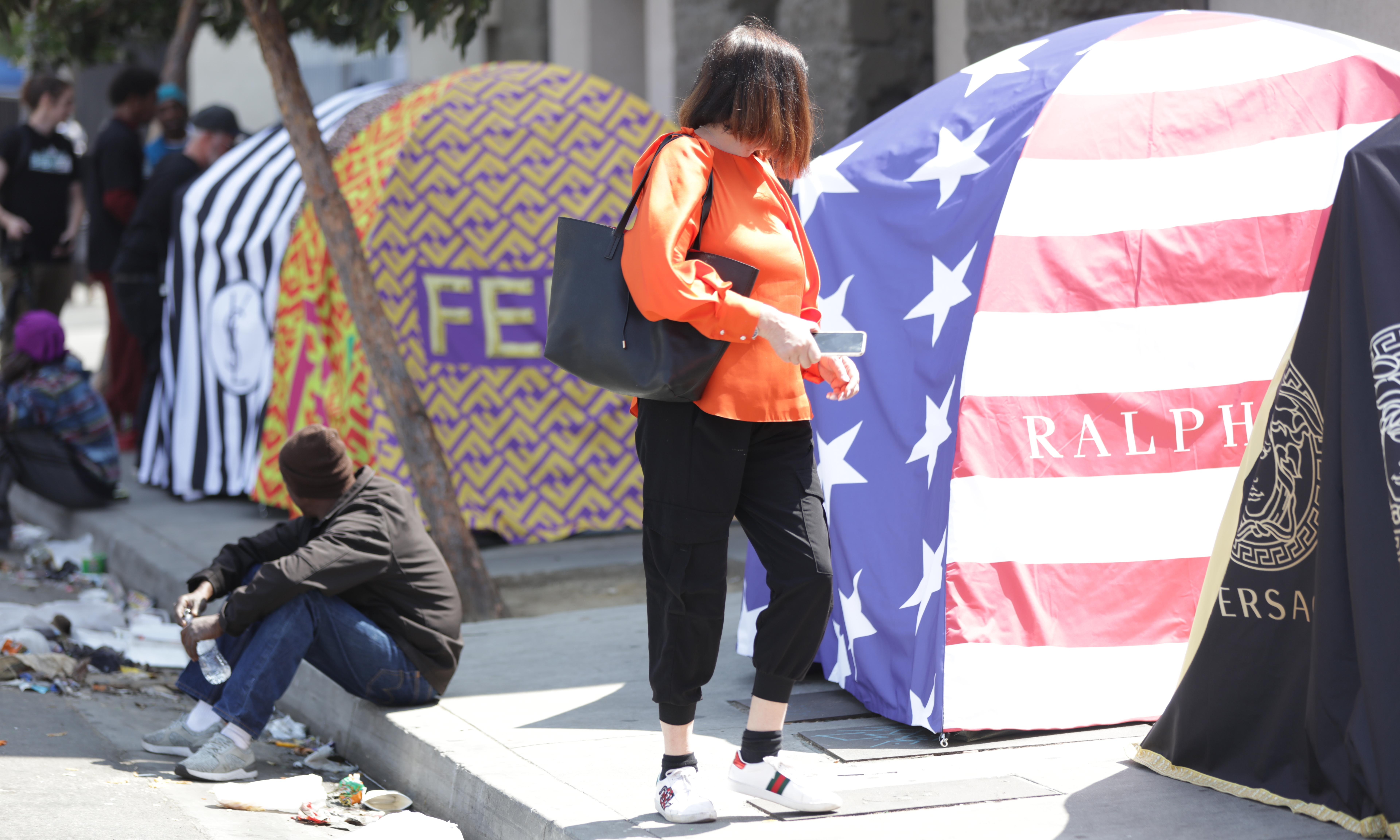 Chemical X's protest against poverty: 'Chanel' tents on LA's Skid Row