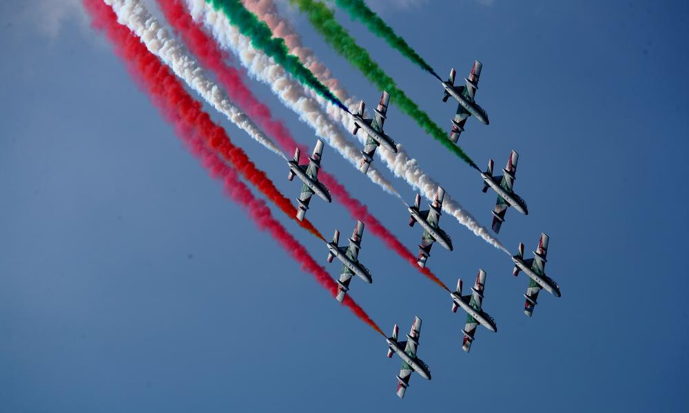 An aerial display over the grid before the F1 Grand Prix of Italy at Autodromo di Monza