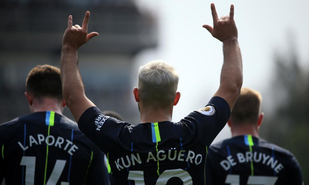 Sergio Aguero of Manchester City celebrates after scoring his team's second goal.