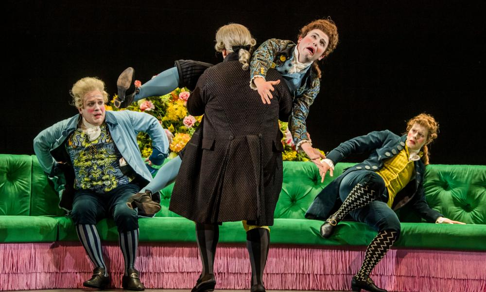 from lef, William Berger, Alessandro Fisher, Patrick Terry and Jacquelyn Stucker in Berenice, directed by Adele Thomas.
