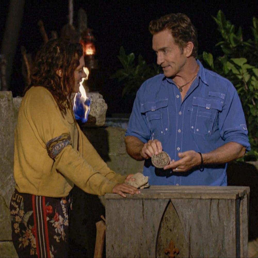 Michele Fitzgerald and Jeff Probst at Tribal Council on Survivor