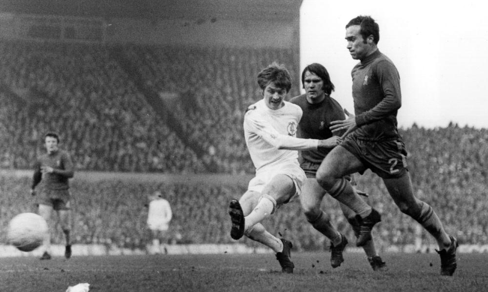 Leeds' Alan Clarke (left) shoots as Ron Harris (right) approaches during the 1970 FA Cup final replay. Chelsea won 2-1 after extra-time.