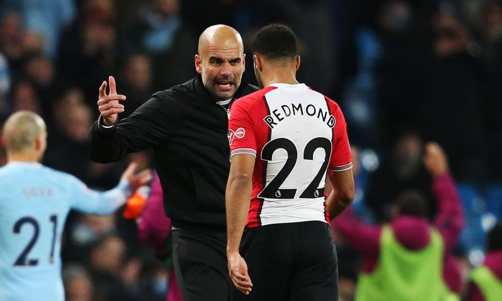 Pep Guardiola confronts Nathan Redmond after Manchester City's dramatic late win over Southampton a year ago.