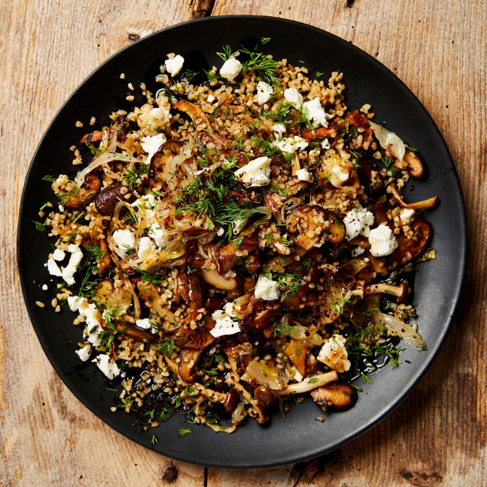 Home cooking: Ottolenghi's bulgur with mushrooms, feta and dill.