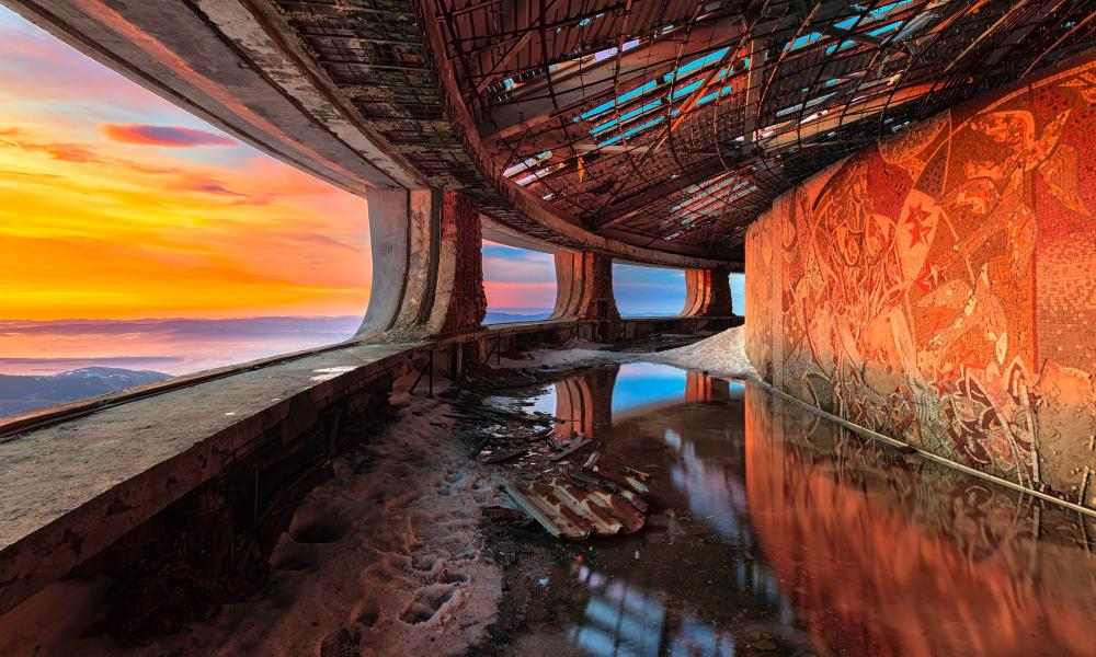 A  corridor in the Buzludzha Monument in Bulgaria, which was created for the country's Communist party.
