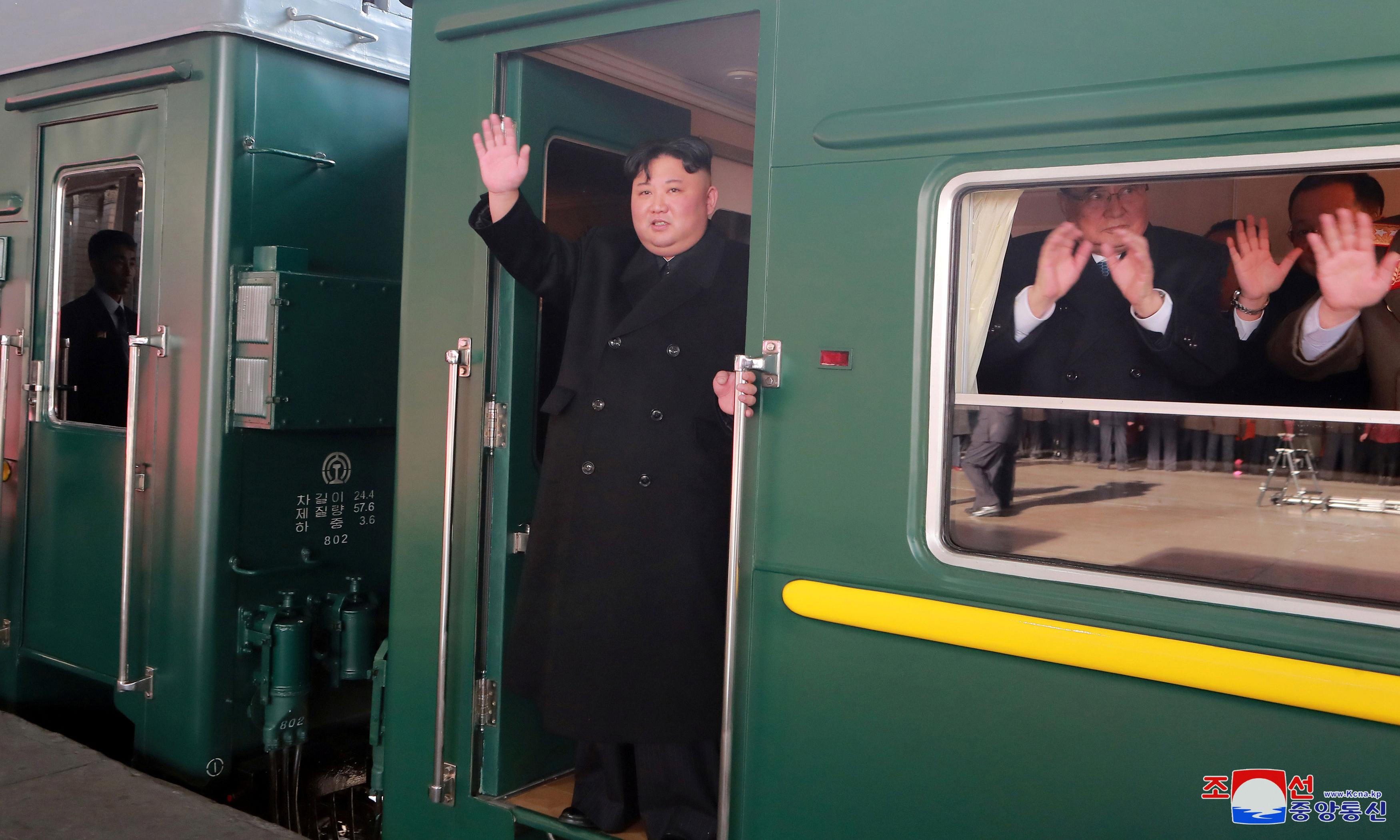 Kim Jong-un boards train for two-day journey to meet Trump in Vietnam