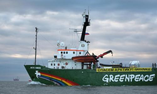 The Arctic Sunrise near the Prirazlomnaya oil rig, on its way to protest against offshore drilling in the Arctic