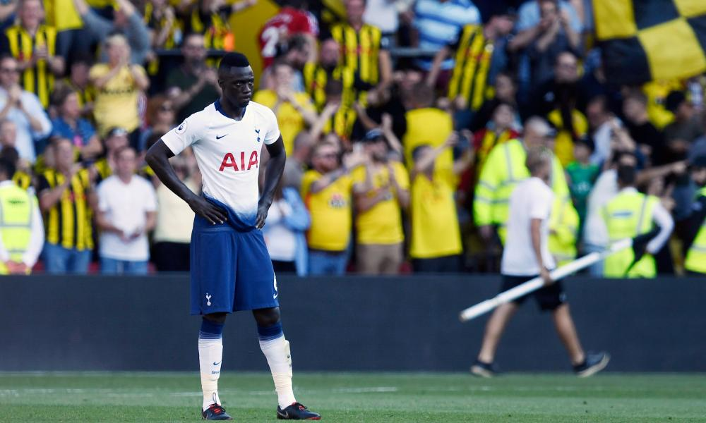 Davinson Sánchez reacts at the final whistle as Spurs lost their unbeaten record at Watford.