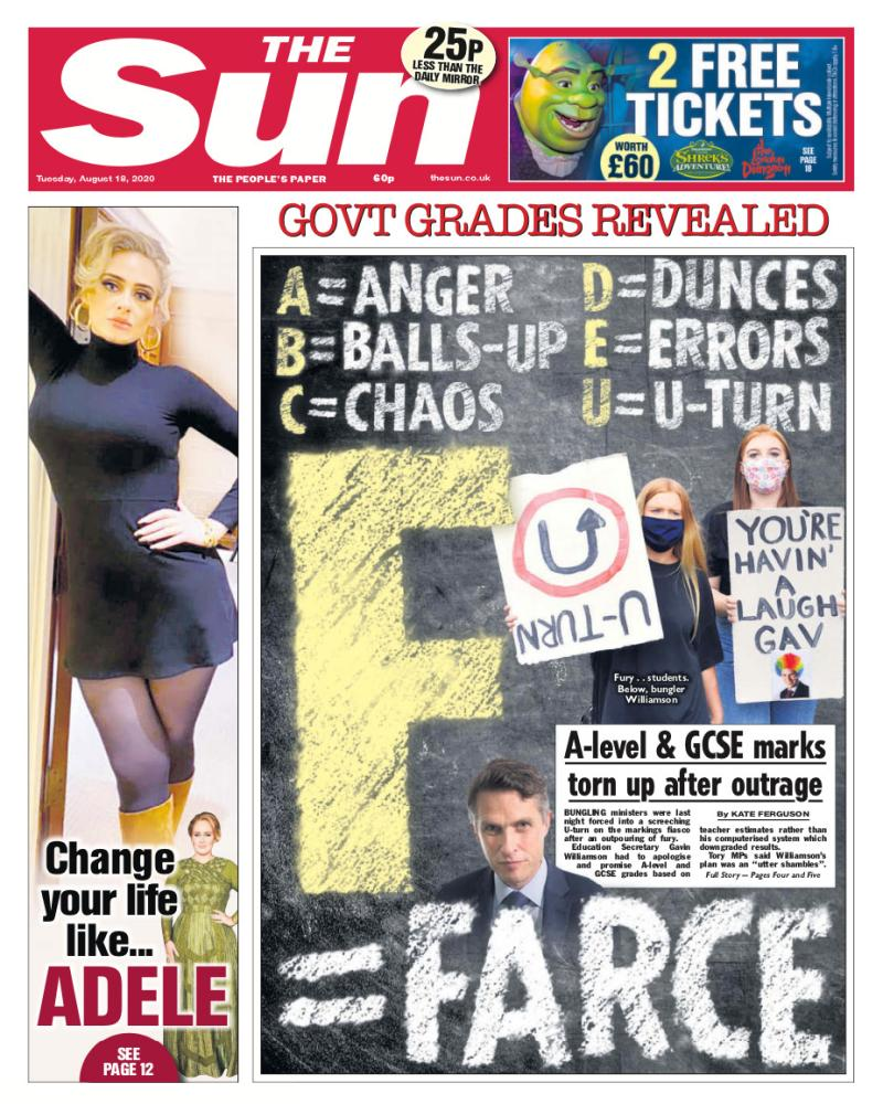 The Sun front page for Tuesday August 18.