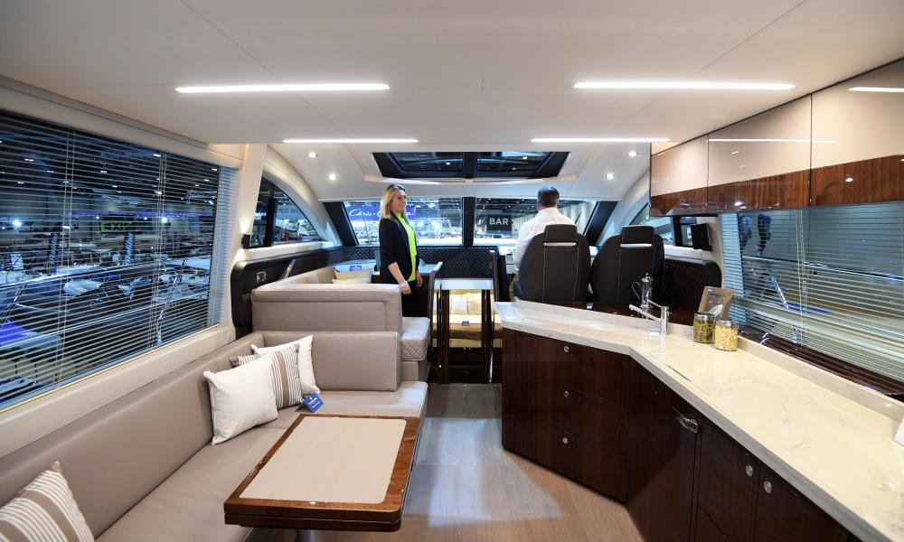 Inside a Fairline Squadron 53 boat at the London Boat Show, but the company is facing increasing demand for larger models.