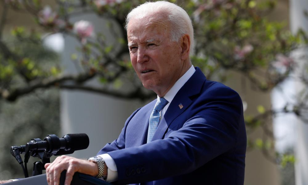 Joe Biden in the Rose Garden of the White House in on 8 April.