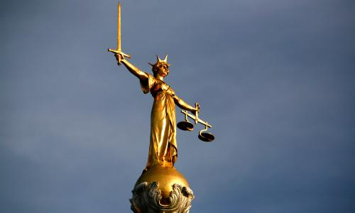 Statue of Justice on top of the Old Bailey